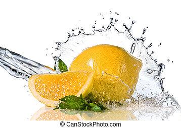 lemon  - Water splash on lemon with mint isolated on white