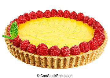 Lemon tart garnished with fresh raspberries