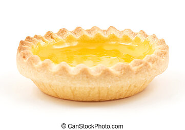 Lemon Tart - One single lemon tart, isolated on white.