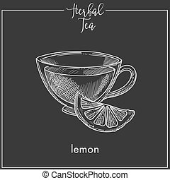 Lemon tea cup chalk sketch vector icon for herbal tea, cafeteria or packaging design template