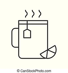 Lemon tea cup, food and beverage outline icon