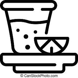 Lemon tea cup icon, outline style