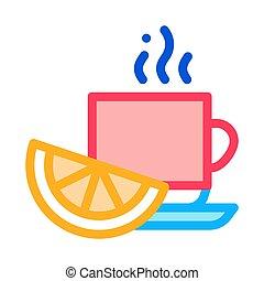 Lemon Tea Cup Icon Vector Outline Illustration