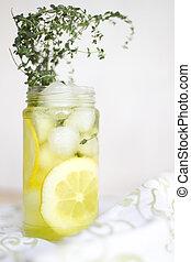 A non-alcoholic lemon thyme soda beverage.