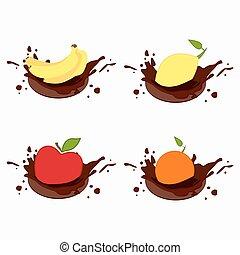 Lemon, tomato, apple