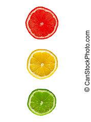 lemon traffic light on a white background