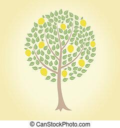 Lemon tree - Tree and yellow lemons on it. A vector...