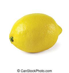 Whole lemon isolated on a white background.