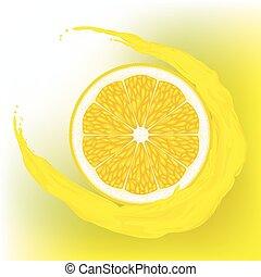 Lemon with a wave juice - A lemon with a wave juice on...