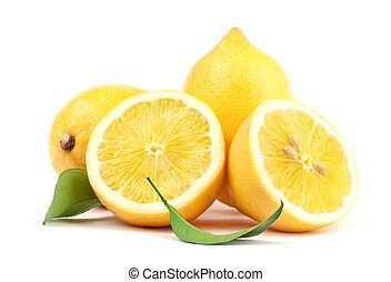 Lemon with green leaf - Beautiful Lemon
