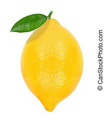lemon with leaf isolated on white