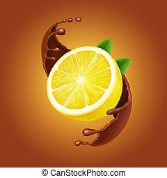 Lemon with leaves and chocolate splash realistic illustration