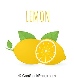 Lemon with leaves vector illustration in flat style. Whole and cut in half lemons. Natural organic citrus fruit isolated on white background.