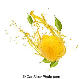 Lemon with splash, isolated on white background