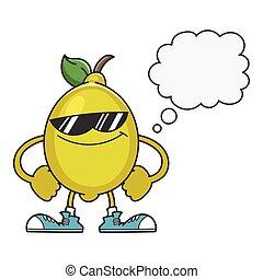 lemon with sunglasses cartoon character