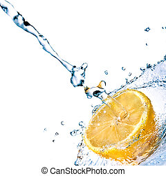 lemon with water splash