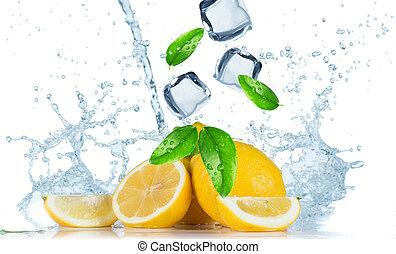 Lemon with water splash isolated on white