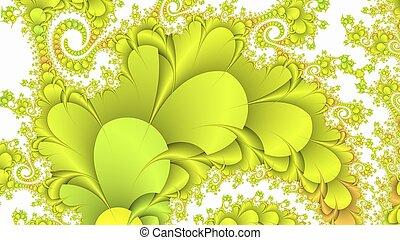 Lemon yellow and white fractal background