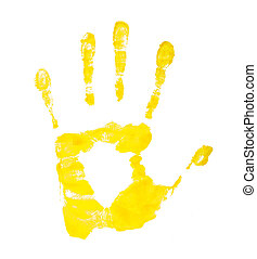lemon yellow handprint on an isolated white background