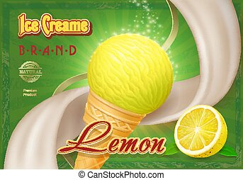 Lemon yellow ice cream in the cone advertising package design,