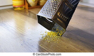 Lemon zest being grated,