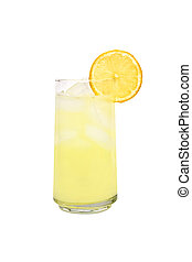 Lemonade - A cold glass of lemonade with a slice of lemon