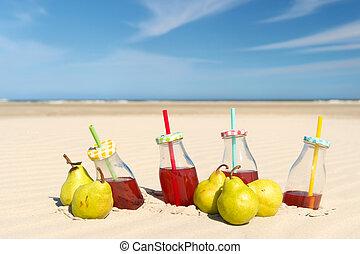 Lemonade and fruit at the beach