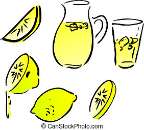 Lemonade and lemons, retro hand-drawn style. Lemon and lemon...