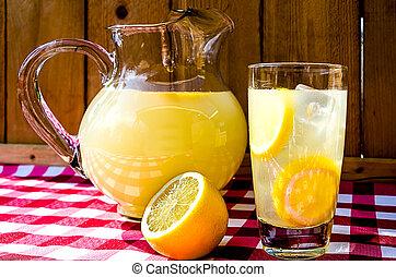 Lemonade and Pitcher - Lemonade and pitcher with sliced ...