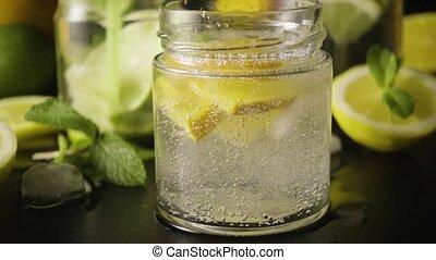 Lemonade bubbles super slow motion