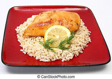 Lemonade Chicken on Brown Rice - Lemonade Chicken and brown...