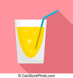 Lemonade cocktail icon, flat style