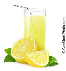 Glass of lemonade or lemon juice isolated on white
