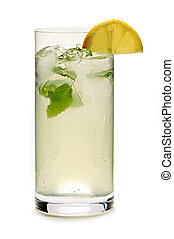 Lemonade - Glass of sparkling lemonade with mint and ice