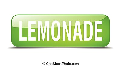 lemonade green square 3d realistic isolated web button