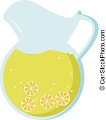 Lemonade, illustration, vector on white background.