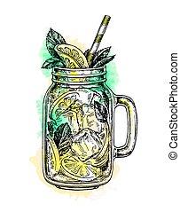 lemonade in mason jar.