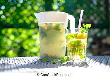lemonade in plastic decanter