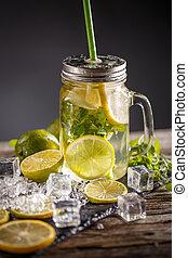 Lemonade in the glass jar