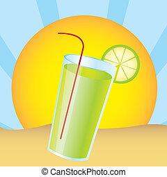 lemonade juice over landscape desert. vector illustration