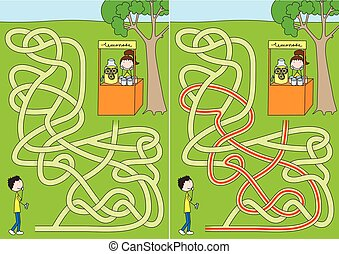 Lemonade maze for kids with a solution