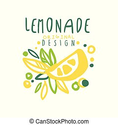 Lemonade original design logo, natural citrus product emblem colorful hand drawn vector Illustration