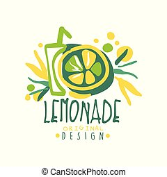 Lemonade original design logo, natural healthy product badge, fresh citrus beverage colorful hand drawn vector Illustration