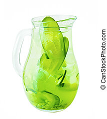 Lemonade Pitcher. ?ucumber Lemonade Drink with Ice and Herbs