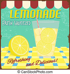 Lemonade poster in vintage style, vector illustration