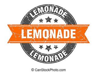 lemonade round stamp with ribbon. label sign - lemonade ...