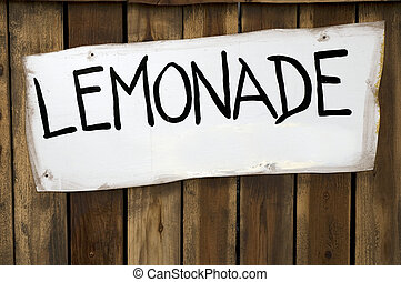 Lemonade Sign on a Wooden Stand