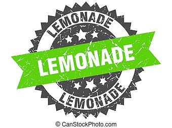 lemonade stamp. grunge round sign with ribbon - lemonade ...
