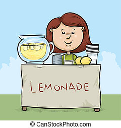 Lemonade Stand - A cartoon girl manages a lemonade stand.
