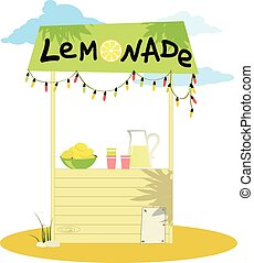 Lemonade stand - Cartoon lemonade stand with fresh lemons ...